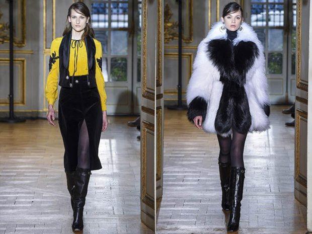 Зимние луки 2018-2019:юбка с разрезом черная шуба белая с черным