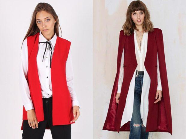 Зимние луки 2018-2019: пальто красное жилетка красная