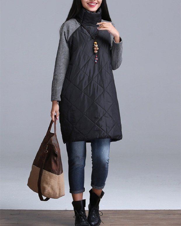 Зимние луки 2018-2019: куртка черная вязанный рукав