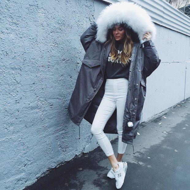 Зимние луки 2018-2019: куртка с капюшоном, черная