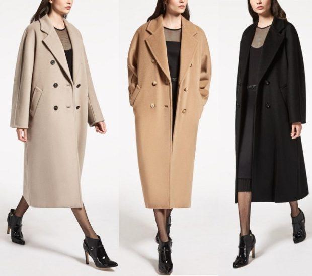 Зимние луки 2018-2019: пальто , кремовое,оранжевое и черное