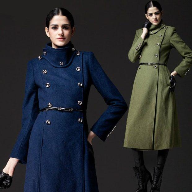 Зимние луки 2018-2019: стиль милитари пальто синее зеленое