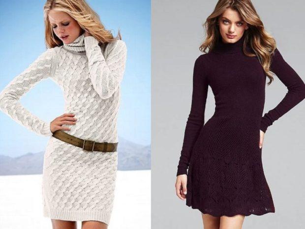 Зимние луки 2018-2019: романтический стиль вязанные платья белое бордо