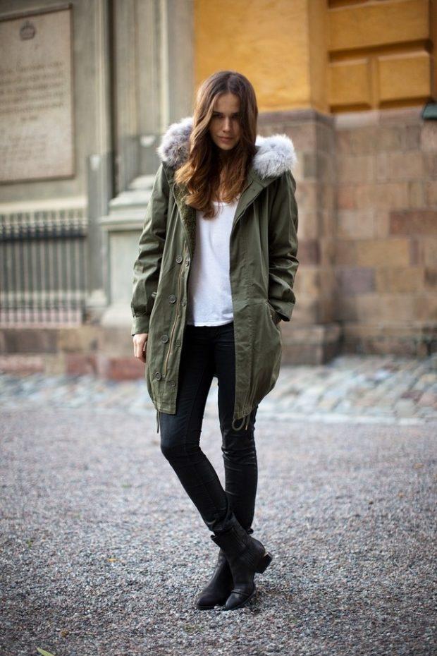Зимние луки 2018-2019: куртка, зеленая