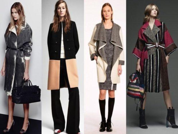 Зимние луки 2020-2021: пальто по колено серое черное с бежевым серое с белым цветное
