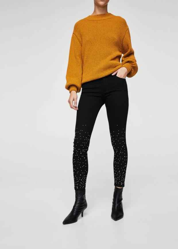 с чем носить джинсы с бусинами