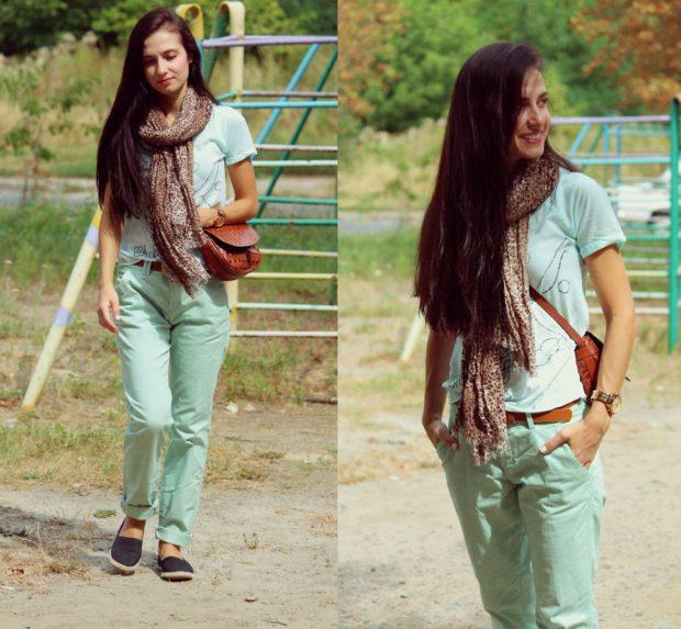 брюки чиносы салатовые с чем носить