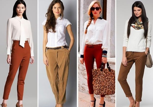 чиносы коричневые бежевые красные коричневые под белые блузки