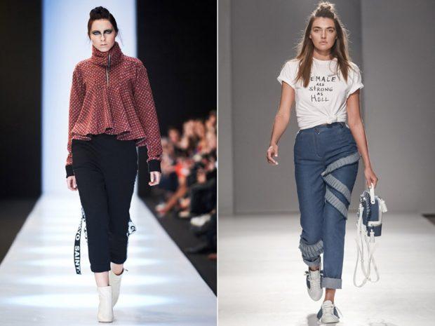 брюки чиносы для полных под кофточку с воланами под футболку