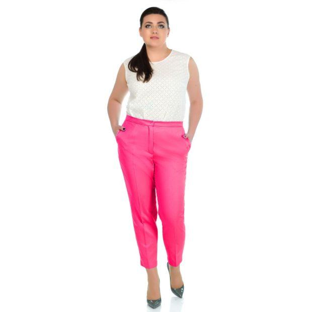 чиносы розовые под блузку белую без рукава
