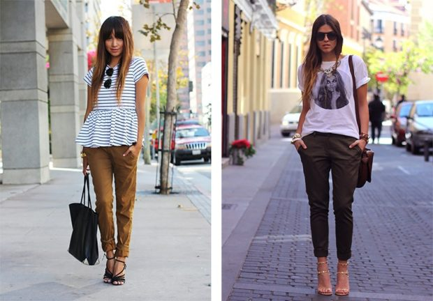 чиносы коричневые под босоножки под футболку в полоску под футболку с принтом