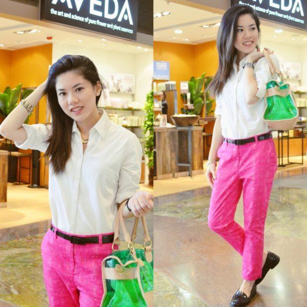 чиносы розовые под низкий ход с яркой сумкой