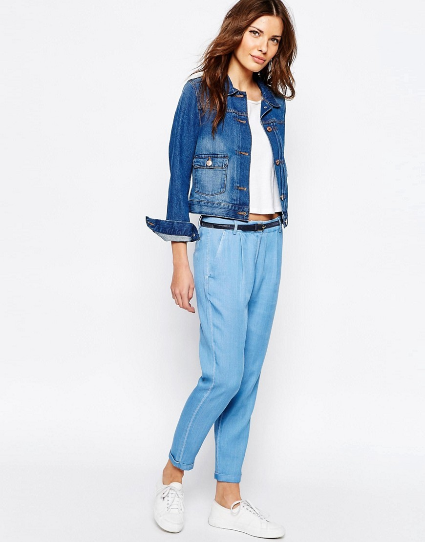 чиносы синие джинсовые под курточку