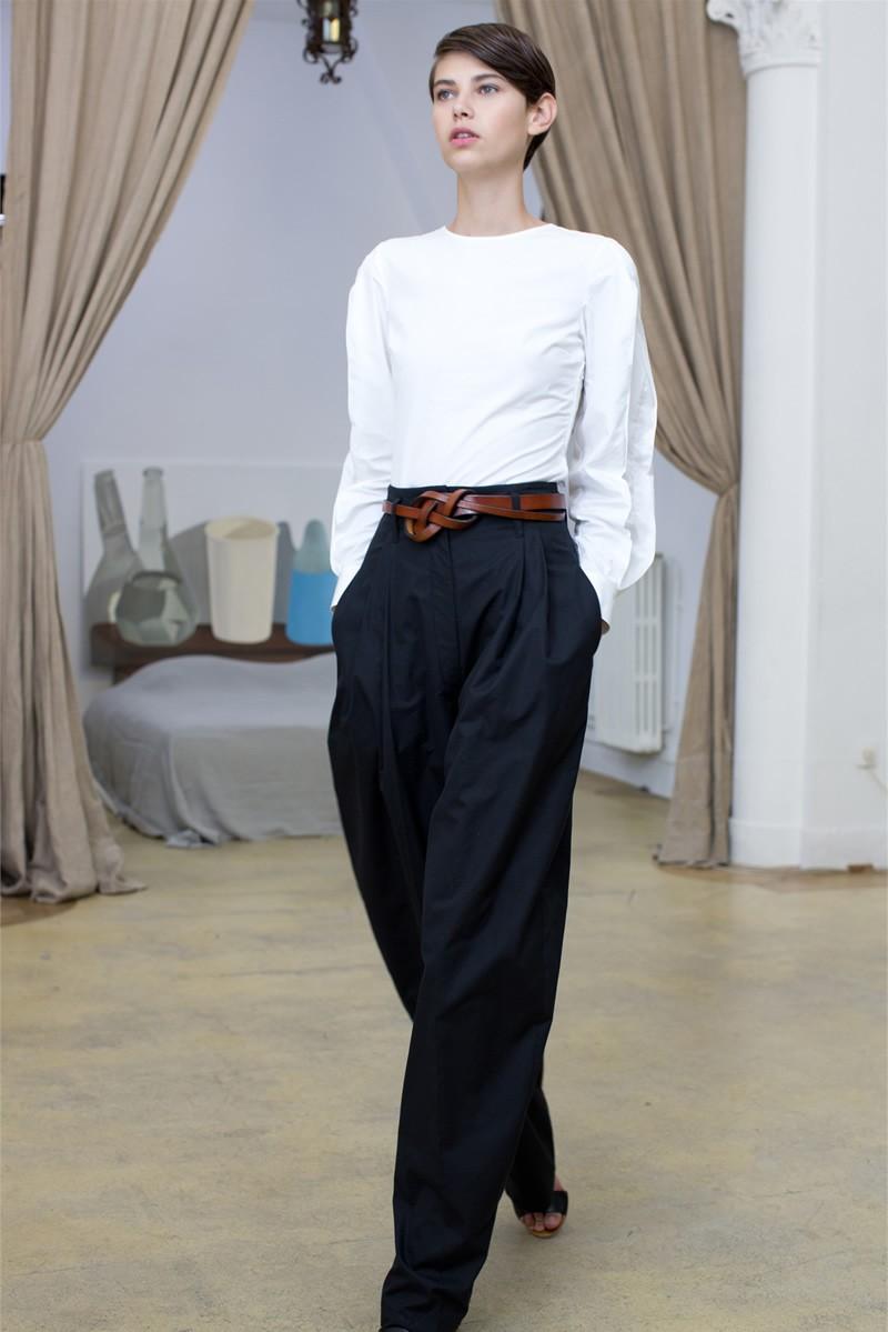брюки высокая талия широкие по белую блузку
