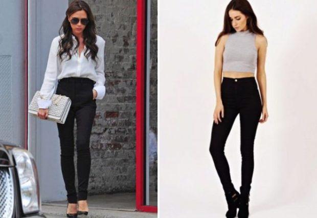 брюки высокая талия черные под блузку под топ короткий