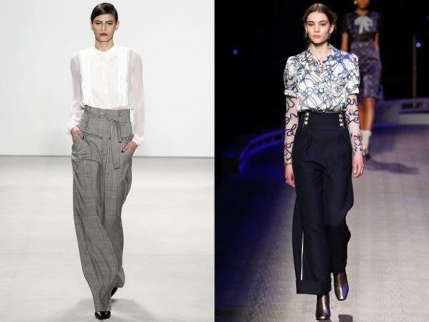 брюки высокая талия серые под блузку черные под блузку в принт