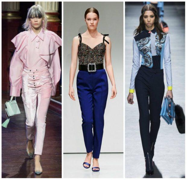 брюки высокая талия розовые под блузку синие под топ черные под блузку синюю