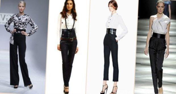 брюки высокая талия черные под блузку в принт под белые рубашки