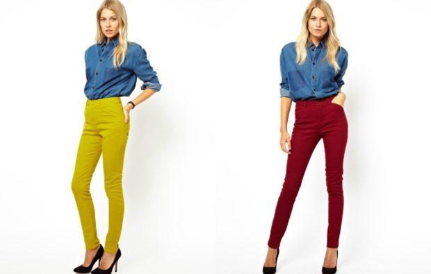 салатовые брюки с завышенной талией с чем носить