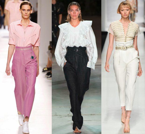 с чем носить брюки с завышенной талией: розовые