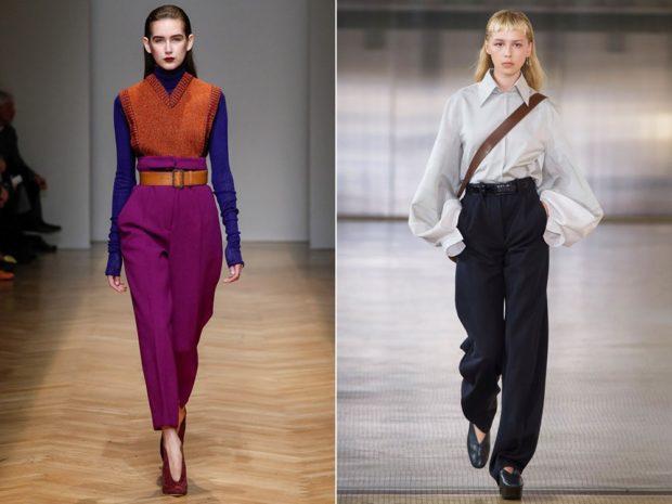 брюки с завышенной талией с чем носить сиреневые