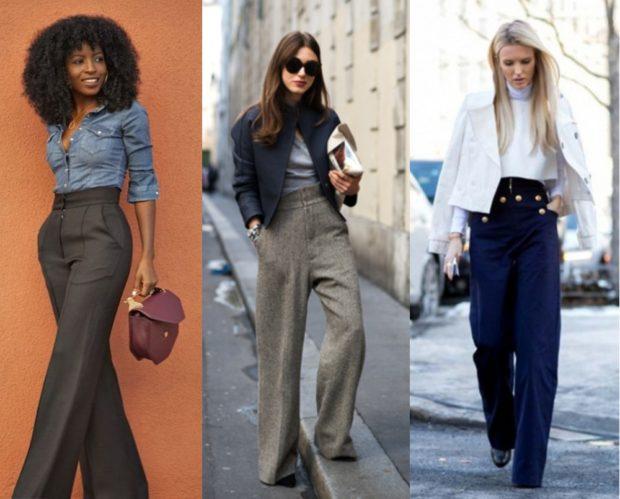 с чем носить брюки с завышенной талией: серые бежевые синие широкие