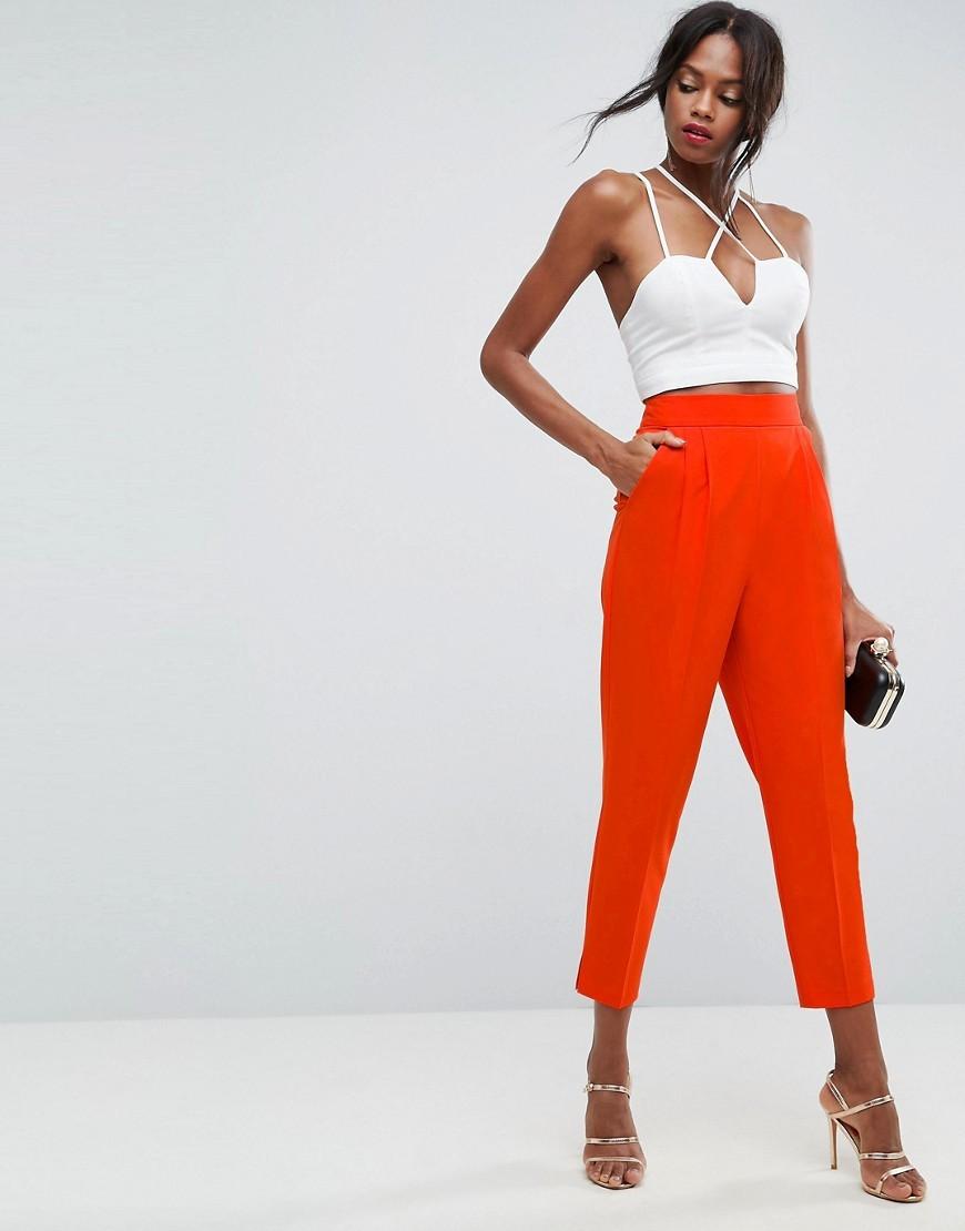 с чем носить брюки с завышенной талией: оранжевые свободные широкие