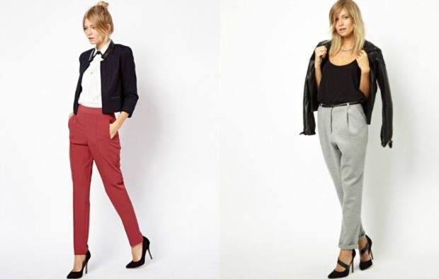 с чем носить брюки с завышенной талией: красные под жакет