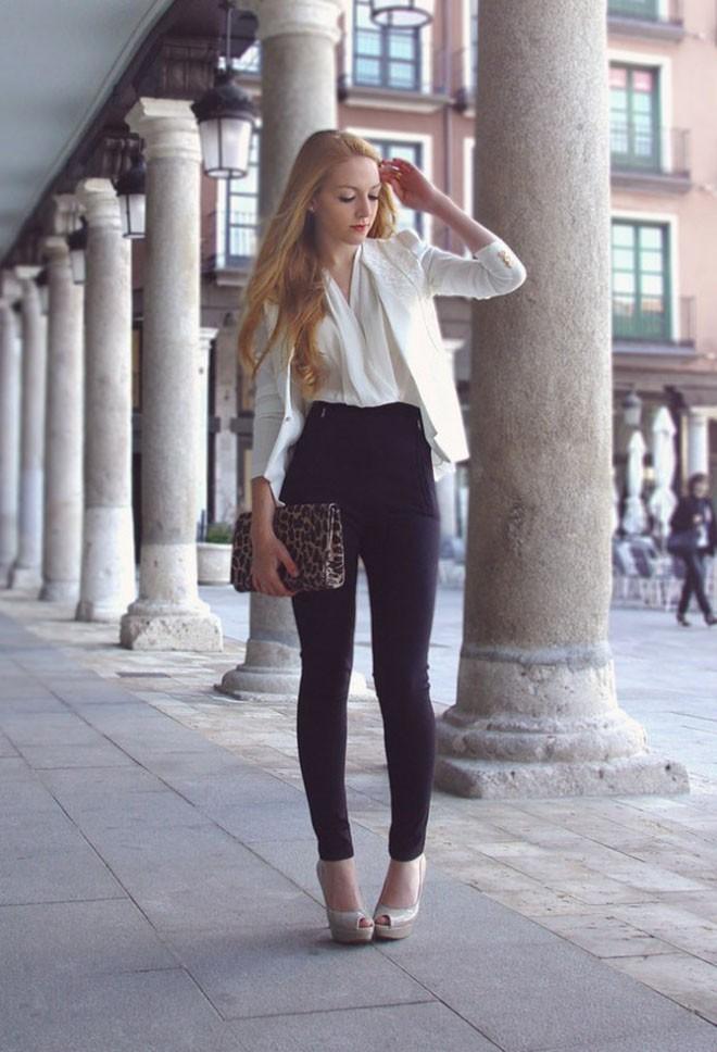 высокие брюки черные под пиджак белый