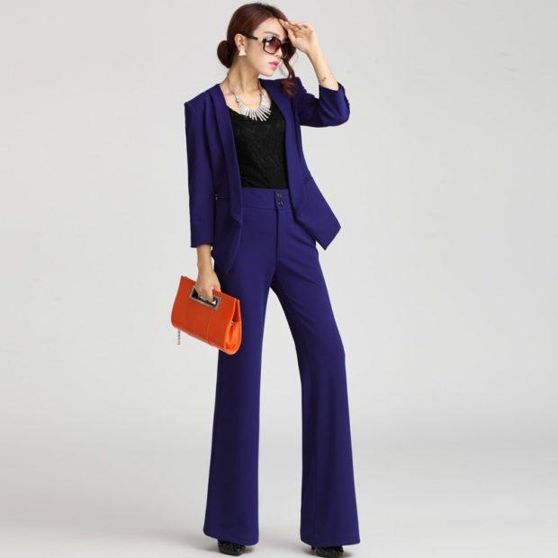 высокие брюки синие под пиджак в тон