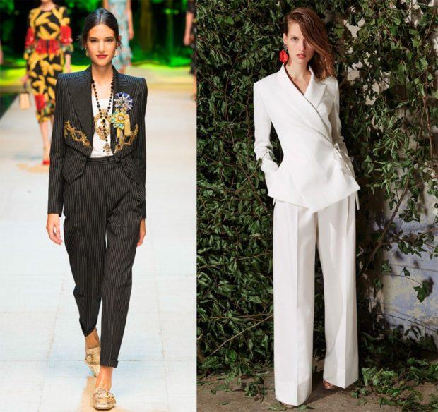 высокие брюки в полоску под пиджак в тон белый костюм
