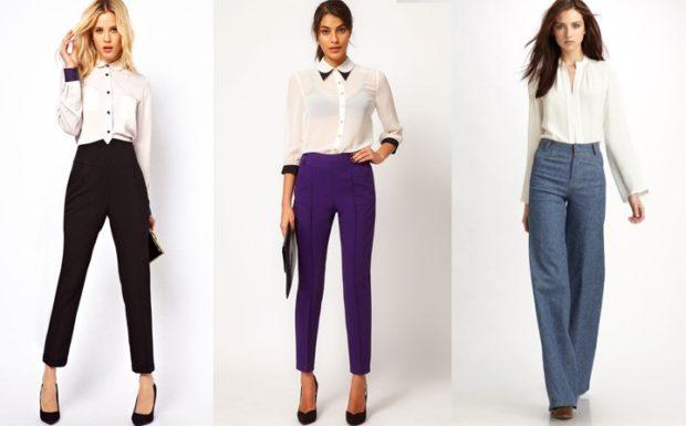 брюки с высокой талией черные синие светло синие под блузки белые