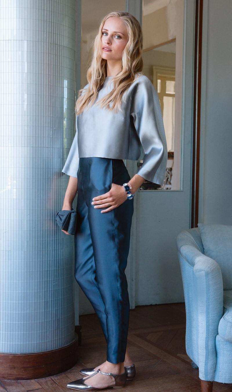 брюки с высокой талией под блузку серую шелковую