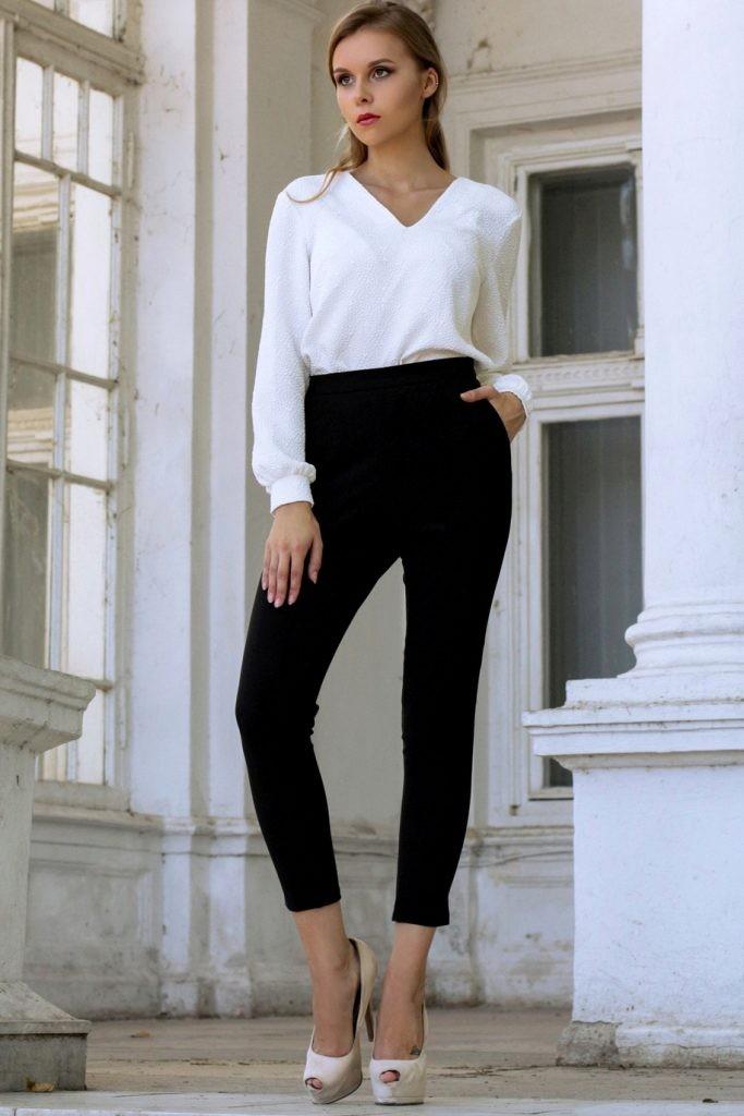 с чем носить брюки с завышенной талией черные