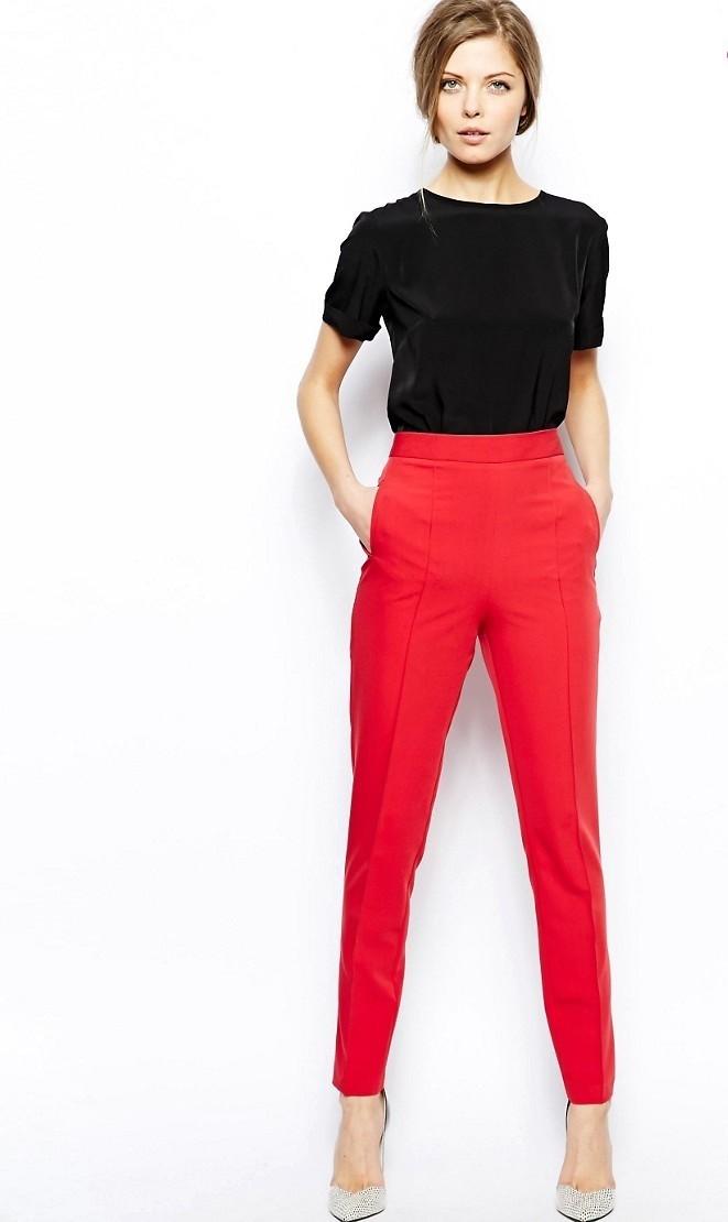 с чем носить брюки с завышенной талией короткие
