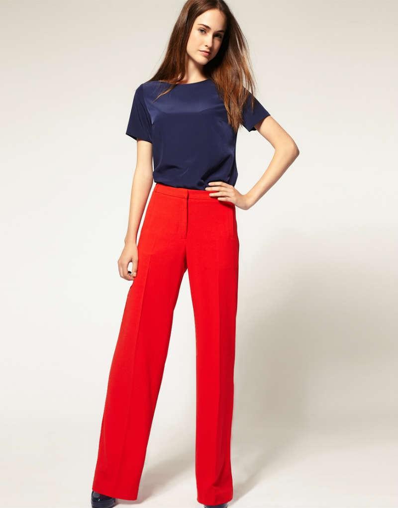 с чем носить брюки с завышенной талией красные