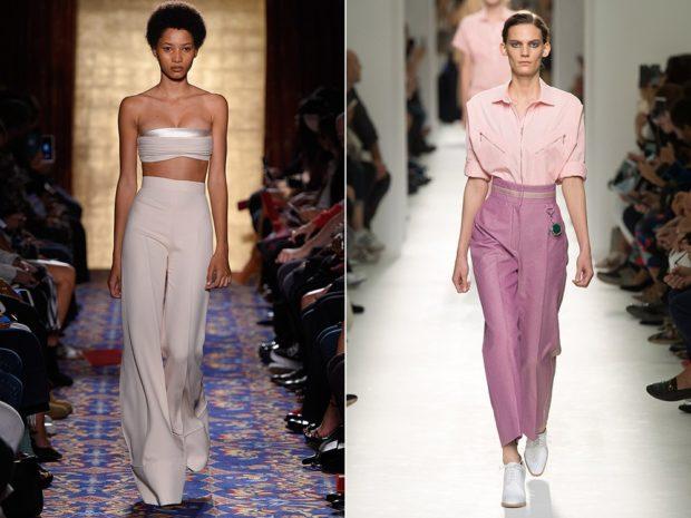 брюки высокая талия под топ в тон под рубашку розовую