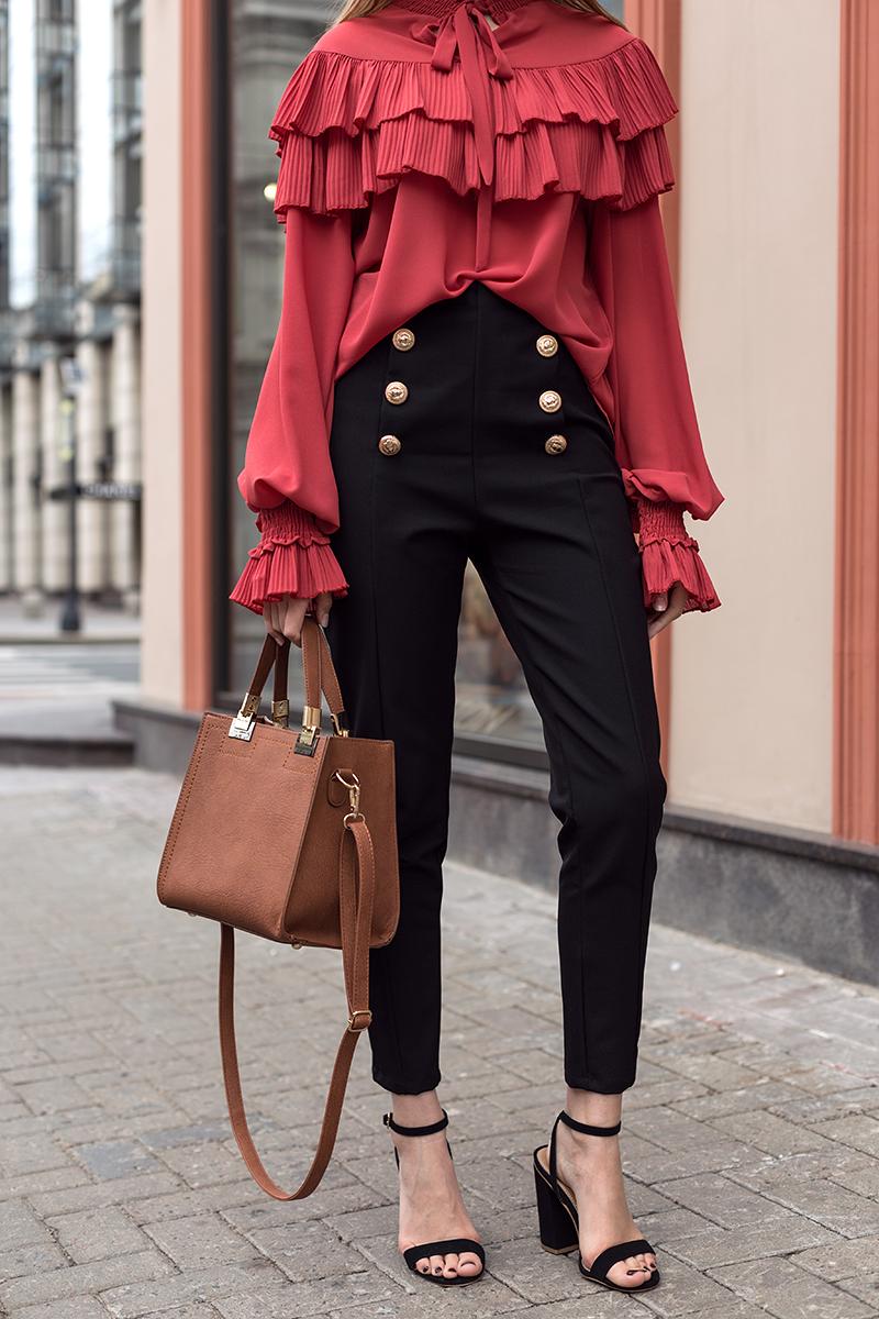 брюки высокая талия под каблук сумку чемоданчик