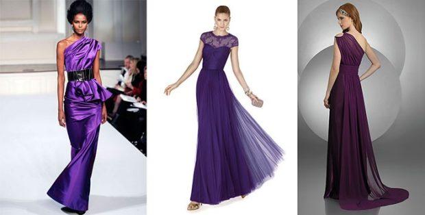 фиолетовые платья разного фасона
