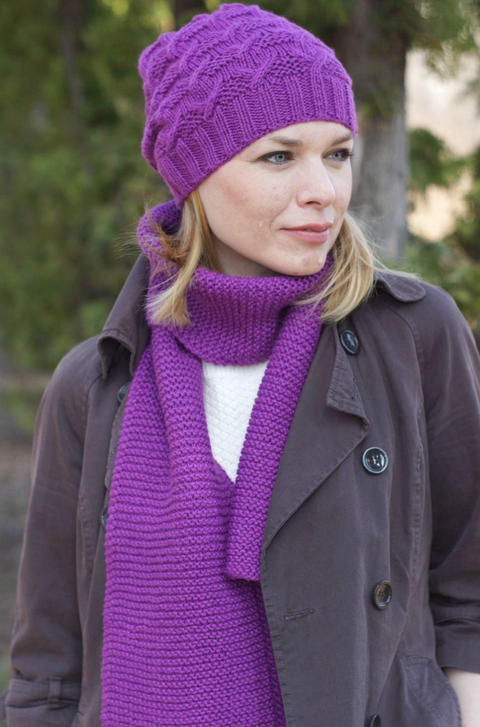 шапка и шарф фиолетовые