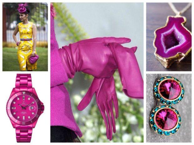 часы перчатки кулон серги фиолетовые