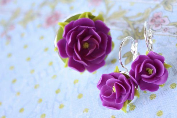 кулон и серьги цветок фиолетовый