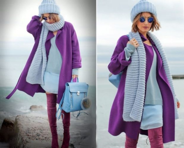 фиолетовое пальто под голубое платье