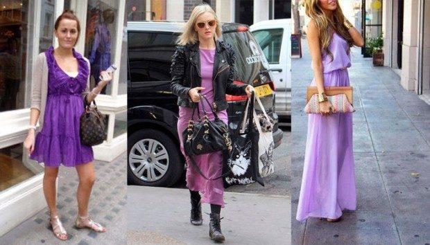 фиолетовые платья под светлую кофту кожаную куртку сумку цветную
