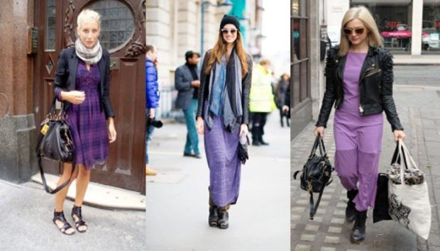 платья фиолетовые под пиджак черный куртку кожаную
