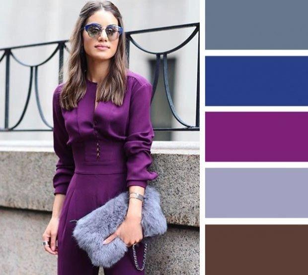 фиолетовое платье с серой сумкой