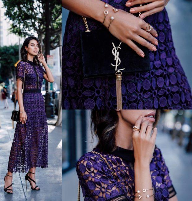 платье фиолетовое кружева по косточку с сумочкой черной