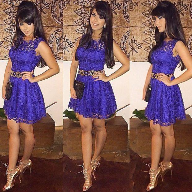 фиолетовое платье кружевное под золотые туфли
