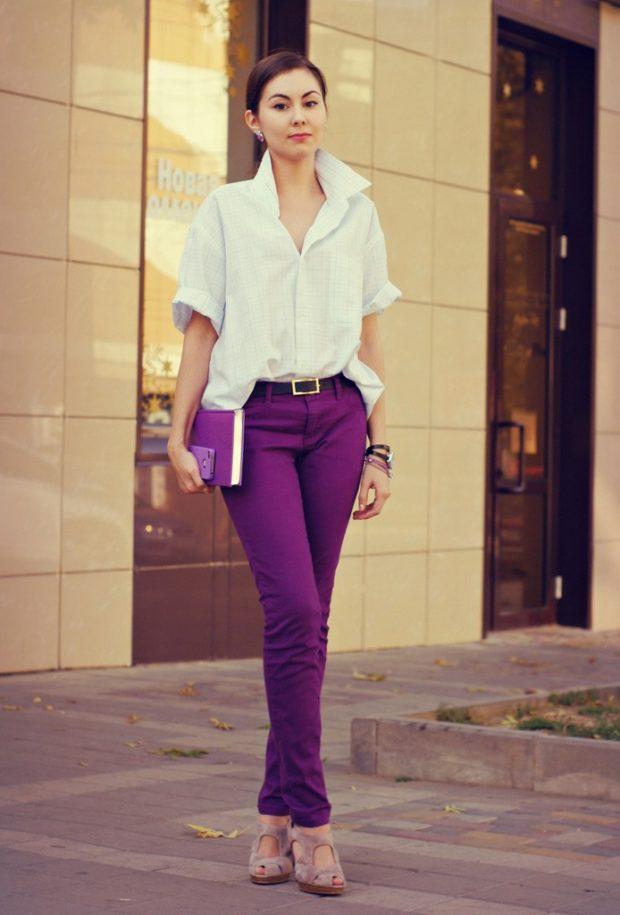 брюки фиолетовые под белую рубашку