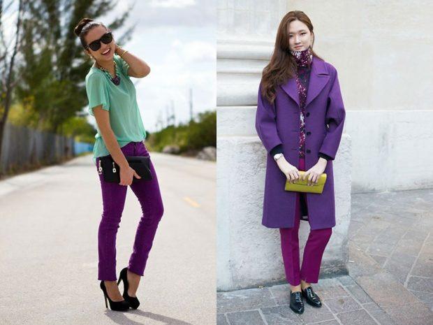 брюки фиолетовые короткие под футболку под пальто в тон